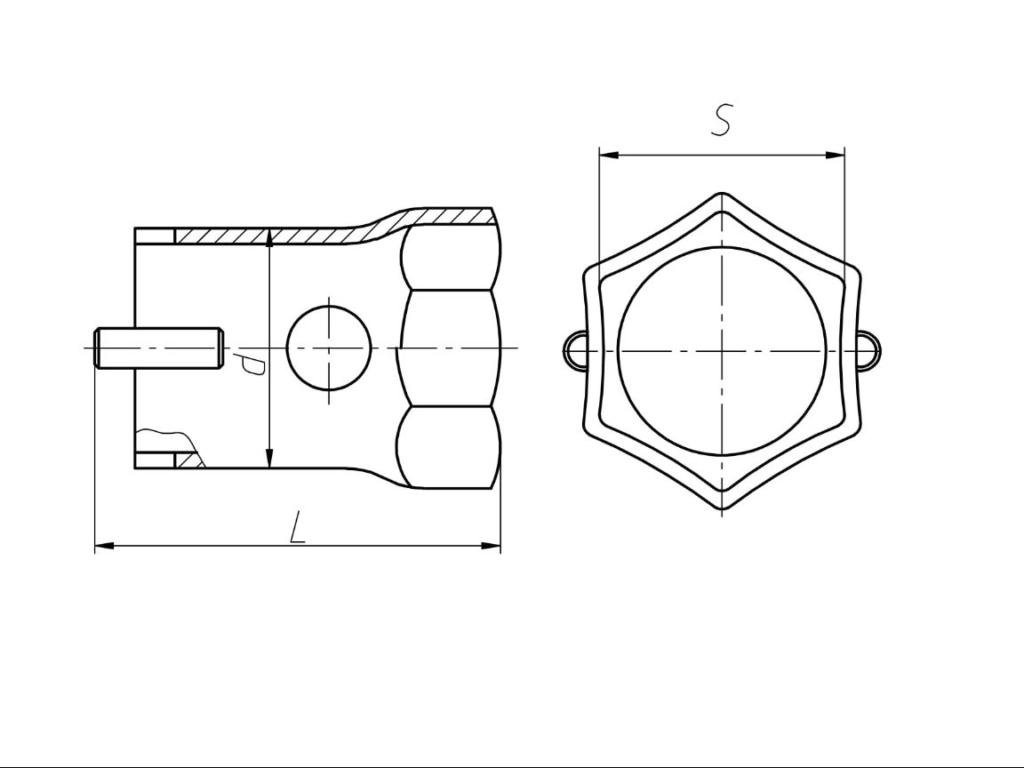 Чертеж Ключи гаечные торцовые трубчатые S55 с внутренним шестигранником односторонние (со штифтом)