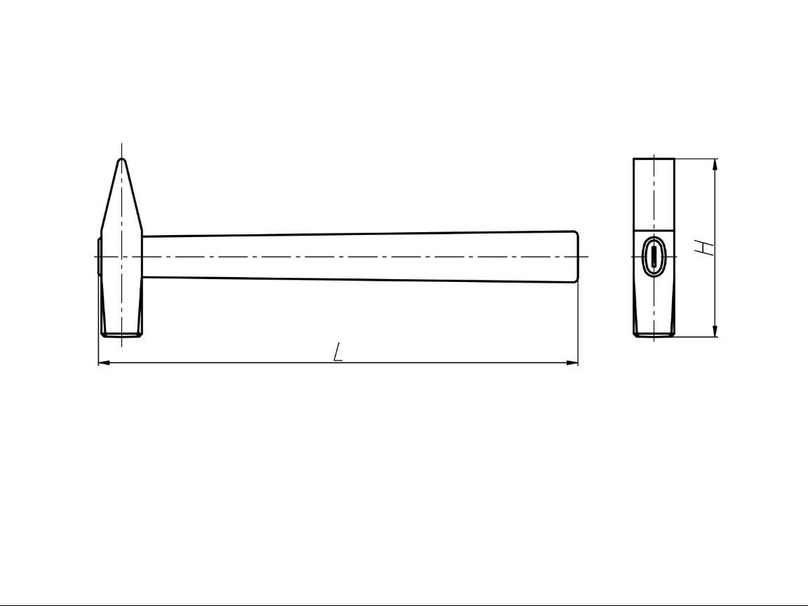 Чертеж молотка с квадратным бойком и деревянной ручкой