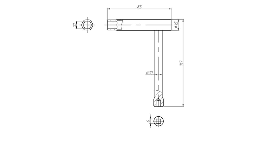 Чертеж Ключ специальный для прокачки тормозов и воздушного крана ТУ 3926-036-53581936-2013