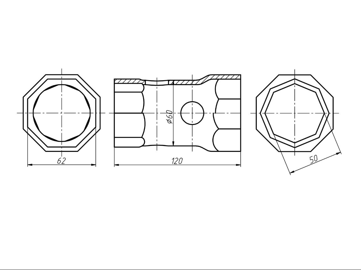 Чертеж Ключ гаечный торцовый трубчатый S50x62 двусторонний ТУ 3926-036-53581936-2013