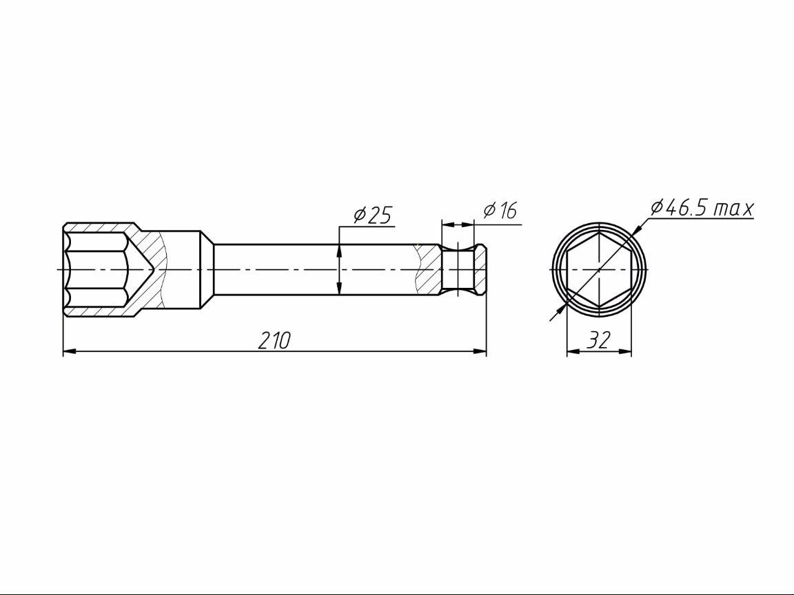 Чертеж Ключ гаечный торцовый стержневой S32 прямой односторонний ТУ 3926-036-53581936-2013