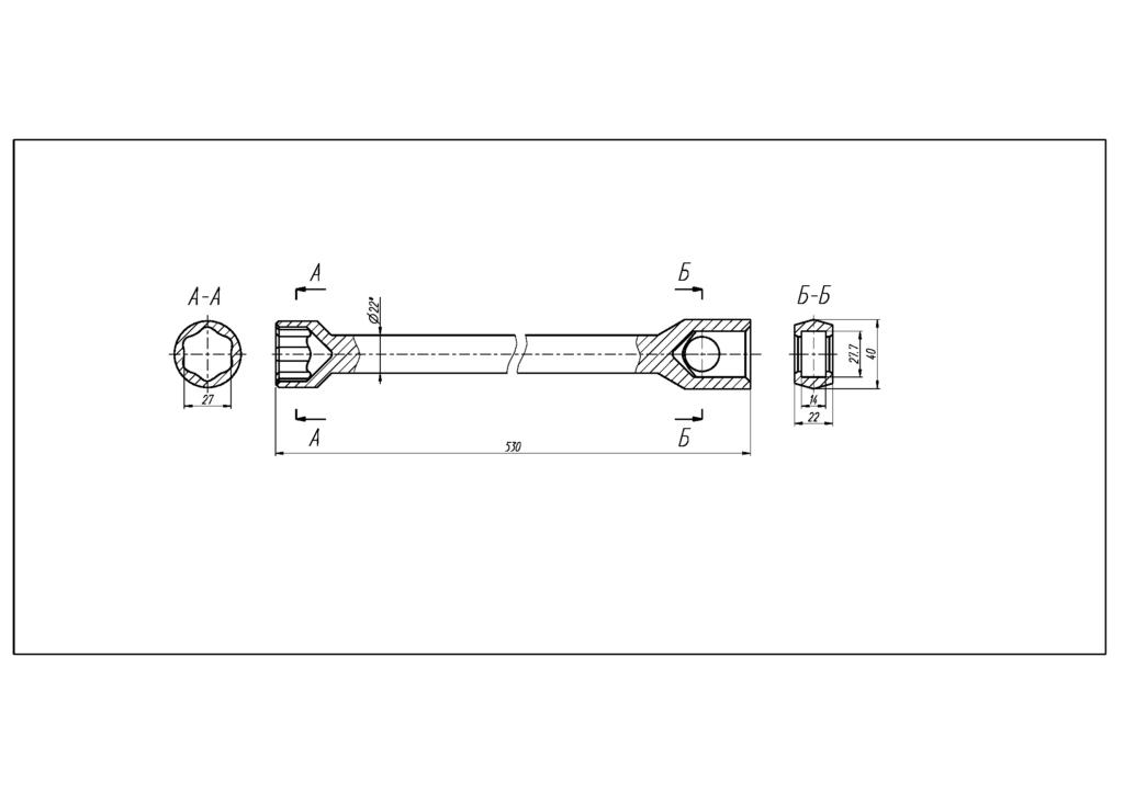 Чертеж Ключ торцовый стержневой S27 с прямоугольным отверстием 27,7х14 под удлинитель ТУ 3926-036-53581936-2013