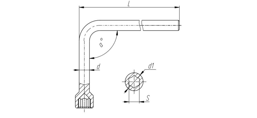 Чертеж Ключи торцовые стержневые изогнутые односторонние S10, 15, 17, 27 с углом гиба 90° и 105°