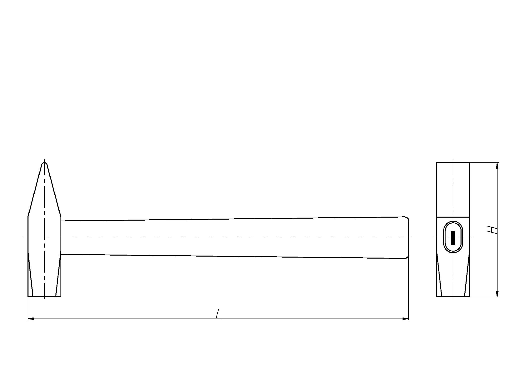 Чертеж Молотки с квадратным бойком и деревянной ручкой слесарные искробезопасные
